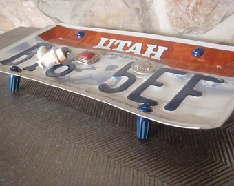 Utah License Plate Tray - Repurposed and Upcycled Home Decor - Ski - Snowbird - Free Shipping