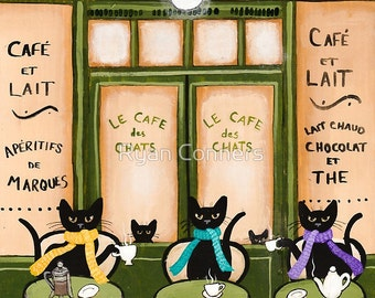 Le Cafe De Chats - Cat Folk Art Print 8x10, 11x14