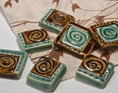 Button - Handmade Ceramic Buttons - Square Button - Hat Button - Headband Button 36