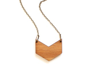 Minimalist Geometric Bamboo Wood Chevron Necklace
