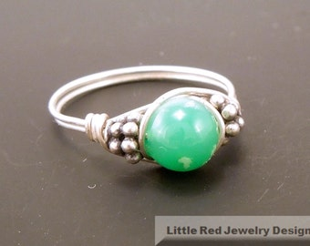 Chrysophrase Sterling Silver Bali Bead Ring - Any Size