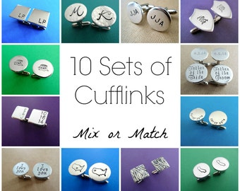 10 Sets of Personalized Cufflinks - Mix or Match Any Style - Aluminum Cuff links
