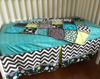 Custom MOD Black & White With Chevron Grey Turquoise and Lime Baby Nursery Bumperless Crib Bedding Set MADE To ORDER