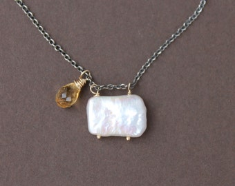 Square Pearl & Citrine Briolette Pendant on Sterling Silver Chain Mixed Metal Delicate Necklace