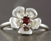 SALE - 50% off the original price - Sterling silver sakura flower ring with natural red faceted Garnet gem - size 6