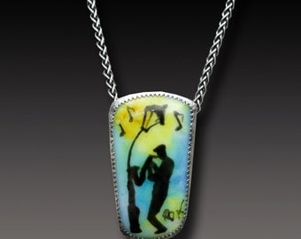 New Orleans Jazz Pendant Painted Glass Pendant Sterling Silver  Pendant with Handpainted Fused Glass Necklace