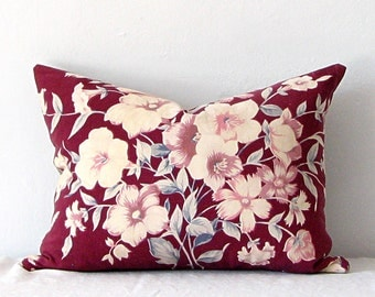 Pillow Vintage Fabric Pillow Marsala Red Floral Holiday Decor Autumn Decor Cotton Linen