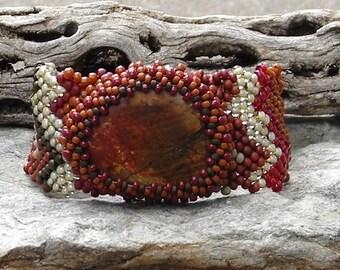 Jewelry - Free Form Peyote Stitch Beaded Bracelet Beaded Cuff Beaded Cabochon - Bead Weaving  - DIscounted