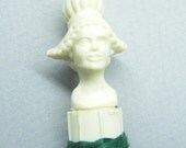 Vintage Bobbin, Sewing Notion,  Ivory Plastic,  Lady Head,  Thread Holder, Thread Bobbin