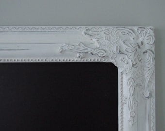 "WHITE Shabby Chic Magnetic Chalkboard Frame 28""x ""64 Distressed White"