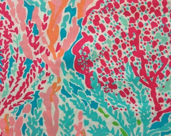 "turquoise let's cha cha egyptian cotton fabric square 18""x18"" ~ lilly pulitzer ~ garnet hill"