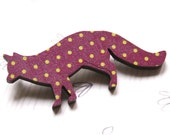 Fox Brooch in Purple with Polka - Woody collection