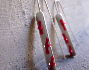 Sterling Silver Earrings with Red Thread - Knots