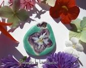 Turquoise Porcelain Hydrangea Pendant