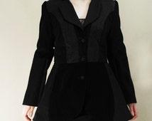 Gothic Jacket, Steampunk pirate Coat, lolita jacket coat in shades of different black textured fabrics, dieselpunk coat, wings jacket, MASQ