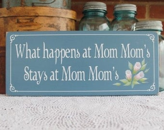 What happens at Mom Mom's Grandmother Wood Sign Mother's Day Hand painted roses Grandparent Personalized