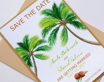 Natural Palm Tree Tropical Beach Destination Wedding Save the Date
