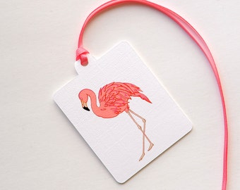 Pink and Coral Flamingo Beach Gift/Wedding Tented Tags