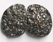 Druzy Pyrite Cabochon Matched Pair