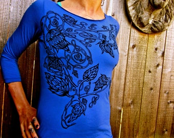 Celtic Hops Tshirt Blue 3/4 Sleeve Made in USA Boatneck Stretchy Jersey Cotton Small Only