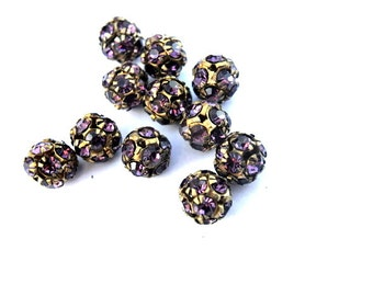 2 Vintage Swarovski beads, violet crystals in brass setting creating ball shape 10mm RARE
