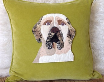 Bull mastif dog pet portrait pillow
