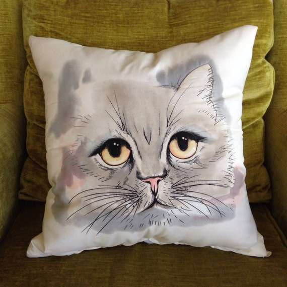 Big Cat Face Pillow By Pillowhappy On Etsy