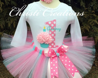 Baby Girl 1st Birthday Tutu Outfit - Aqua and Pink Tutu - Cake Smash Photo Prop