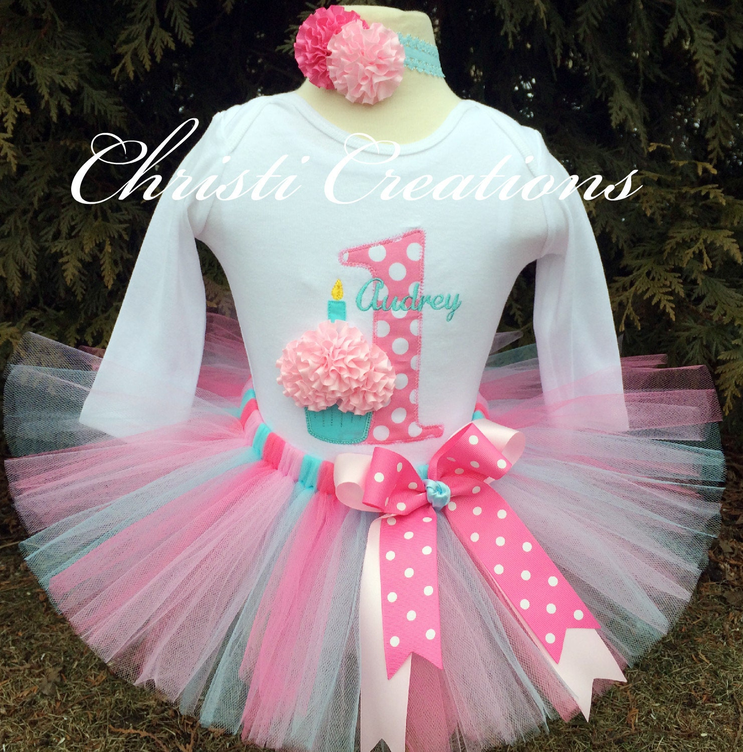 Baby Girl 1st Birthday Tutu Outfit Aqua And Pink Tutu Cake