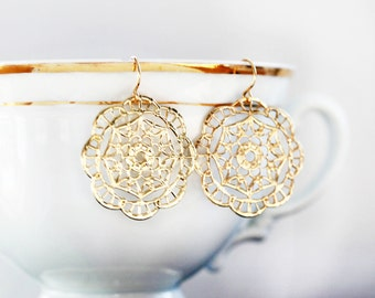 Gold Round Filagree Earrings