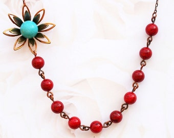 Red Jade Necklace, FREE Earrings, Turquoise Flower Necklace, Vintage Jewelry,  Beadwork, Bridal Jewelry,