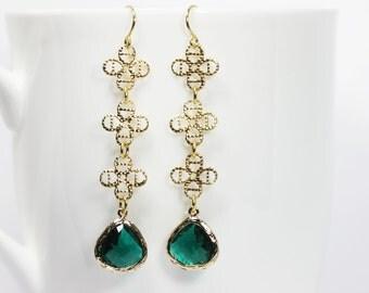 Long Emerald Green Earrings Green Crystal  Earrings Long Gold Filigree Dangle Earrings