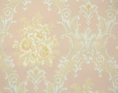 1930s Vintage Wallpaper by the Yard - Victorian Roses Pink Yellow and White