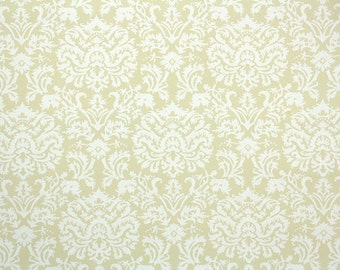 1930s Vintage Wallpaper by the Yard - Yellow and White Damask