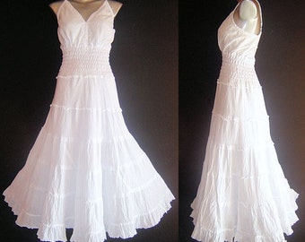 Long White GYPSY PRINCESS Smock Maxi Dress Hippie Boho  Size 10 12 14