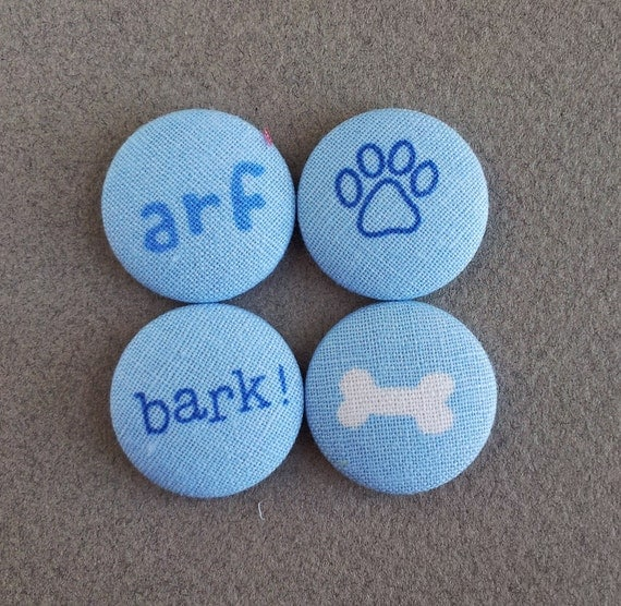 fabric covered buttons with dog inspired print cotton fabric - MEDIUM- made in the USA -