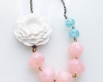 CLEARANCE Asymmetrical White Poppy Necklace