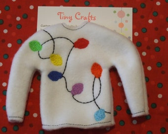Christmas Lights Fleece Sweater Jumper for Elf, Pixie, or Barbie like dolls custom embroidered