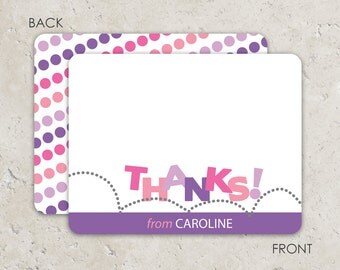 Bounce Thank you Notes - Flat Notecards Stationery with 2-sided printing - pink and purple