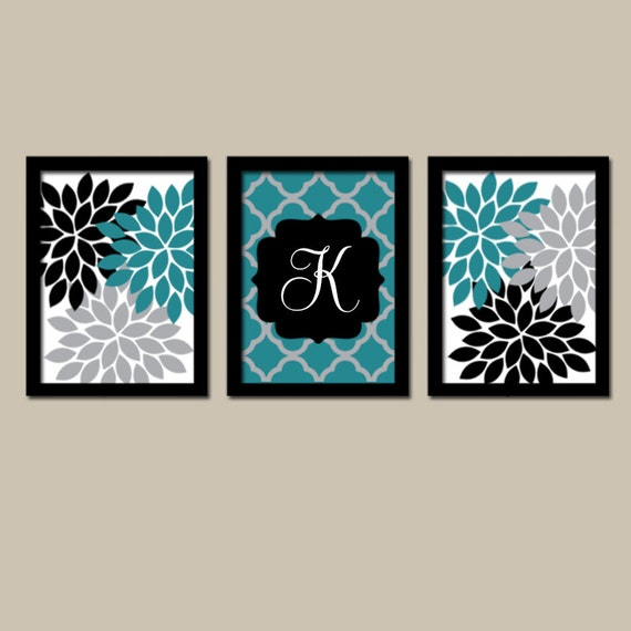 Teal black wall art flower wall art bedroom canvas or by for Black and teal bathroom ideas