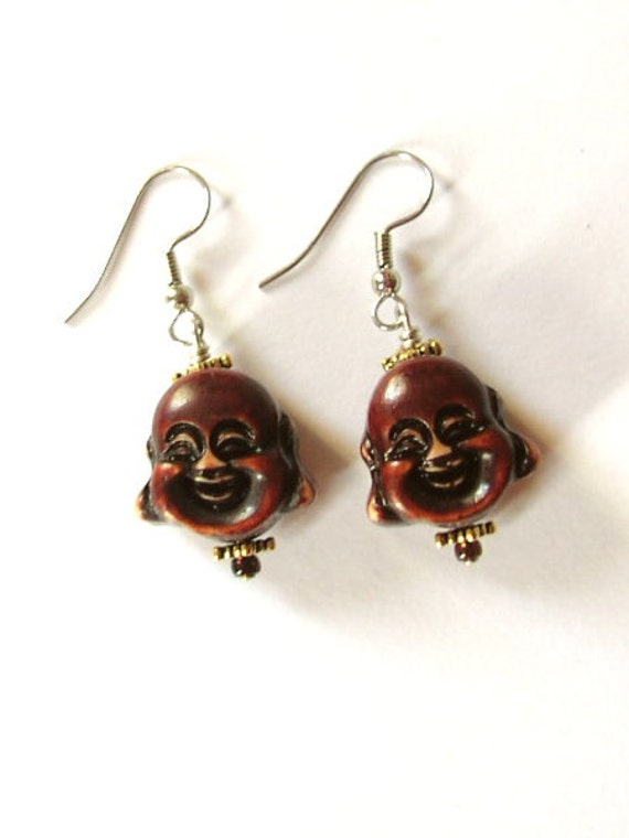 Happy Buddha Earrings beaded earrings smiling laughing geek cute retro funky boho stocking stuffers party favors