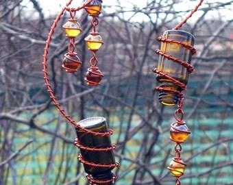 Garden Decoration Suncatcher, Set of 2 Amber Spirit Bottles with Copper Wrapped Coffee & Apricot Glass Marbles, Garden Decor, Yard Art