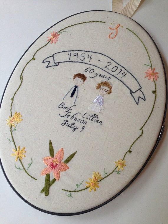 Personalized wedding anniversary hand embroidered hoop art