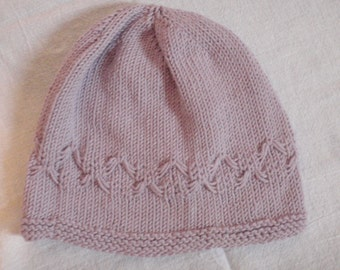 Toddler Knit Hat- Purple Cotton