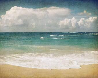 "Beach ocean photography print,  Hawaii waves seashore nautical clouds beach cottage decor ""Wavelength"""