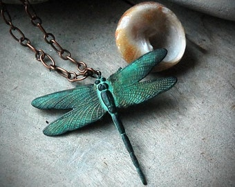 Romantic Dragonfly Necklace - Verdigris, Steampunk, Romance, Victorian, Gift Box