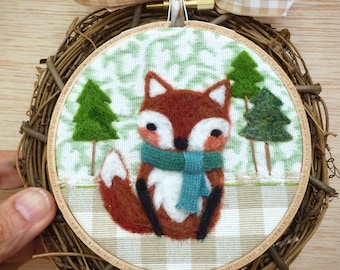 "Woodland Fox Needle Felted 4"" Embroidery Hoop Art in Willow Wreath Frame with Ribbon by Val's Art Studio, Needle Felt Art, Unique Room Decor"