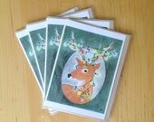 Festive Deer Notecard Set - Holiday Greeting - 5x7 Notecards (Quantity 4)