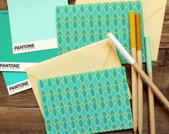 Set (10) Mod Swirl Folded Notecards / Emeralds and Gold / Shimmer Gold Envelopes
