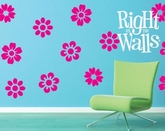 Assorted Flowers Wall Decals 12pc Floral Vinyl Wall Decals Removable Wall Decor